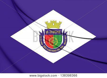 Flag Of Sao Caetano Do Sul (sao Paulo State), Brazil. 3D Illustration.