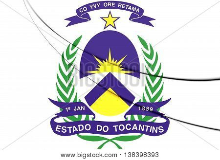 Tocantins Coat Of Arms, Brazil. 3D Illustration.