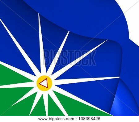 Flag Of Uberlandia (minas Gerais), Brazil. 3D Illustration.