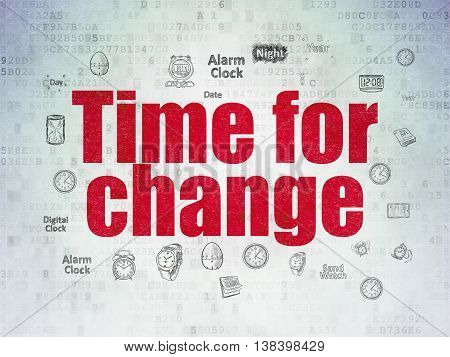 Time concept: Painted red text Time for Change on Digital Data Paper background with  Hand Drawing Time Icons