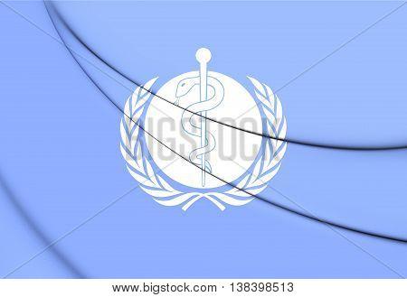 Flag of WHO. 3D Illustration. Close Up.