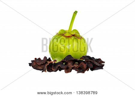 Garcinia Cambogia, Fresh And Dried Fruits,  Isolated On White. Fruit For Diet And Good Health.