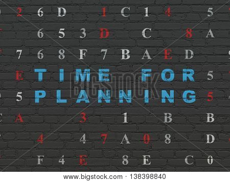 Timeline concept: Painted blue text Time for Planning on Black Brick wall background with Hexadecimal Code