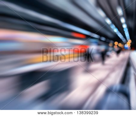Horizontal vivid tran station transportation bokeh blur abstraction background backdrop