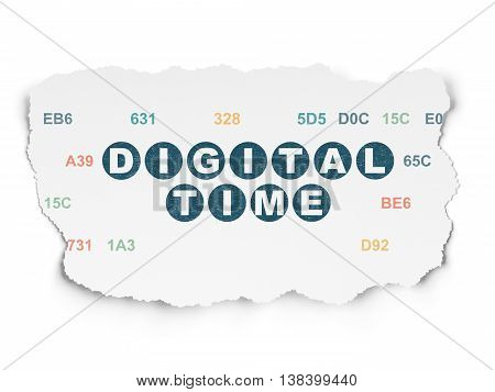 Timeline concept: Painted blue text Digital Time on Torn Paper background with  Hexadecimal Code