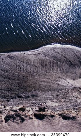 Vertical vibrant sand steep ocean beach background backdrop