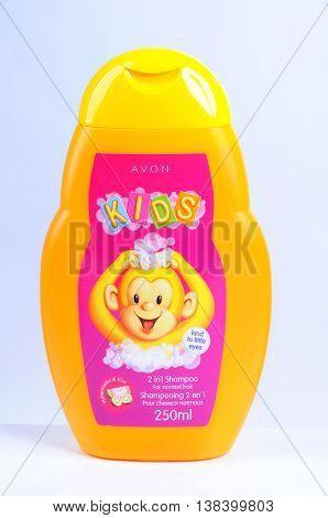KIEV UKRAINE - November 05 2011. Illustrative editorial photo - Baby shampoo (foam for bath) AVON KIDS with the aroma of watermelon and kiwi
