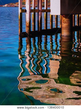 Vertical Vivid Color Norway Quay Reflections Background Backdrop