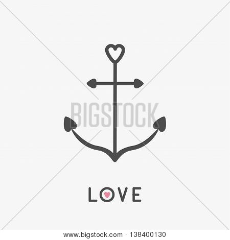 Anchor line icon in shapes of heart. Nautical sign symbol. Love greeteng card. Ship anchor. Isolated White background. Flat design. Vector illustration
