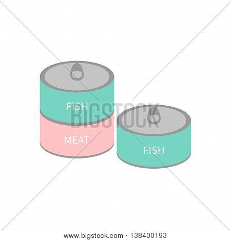 Pet cat dog food tin can with ring. Wet cat eating set. Fish and meat can. Flat design. White background. Isolated. Blue and pink color. Vector illustration