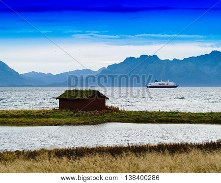 Horizontal Vivid Norway House Ship Landscape Background Backdrop