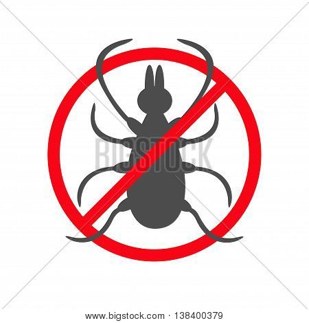 Tick insect silhouette. Mite deer big ticks icon. Dangerous black parasite. Prohibition no symbol Red round stop warning sign. White background. Isolated. Flat design. Vector illustration