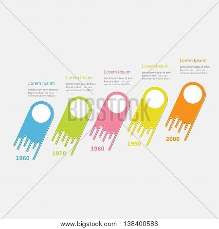 Five step Timeline Infographic diagonal. Colorful comet shape segment. Round circles. Template. Flat design. White background. Vector illustration