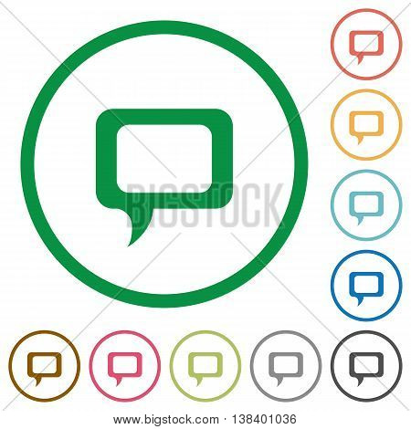 Set of Comment color round outlined flat icons on white background