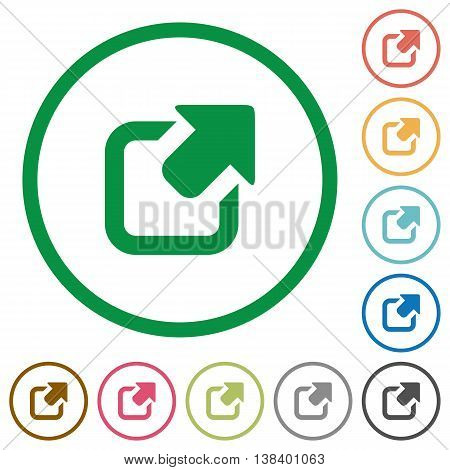 Set of Export color round outlined flat icons on white background
