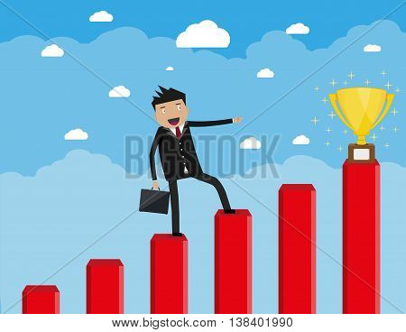 Cartoon happy businessman with breafcase standing on a graph soaring through the clouds and pointing his finger at golden trophy cup, Business Growth Concept. vector illustration in flat design.