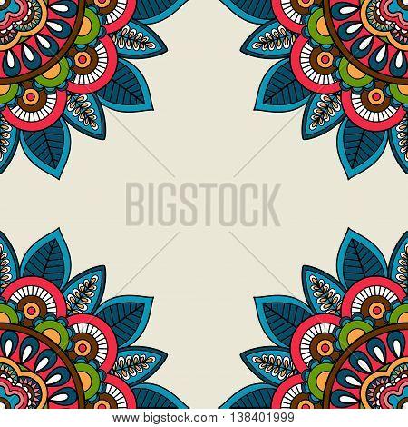 Indian doodle floral corners frame. Vector illustration