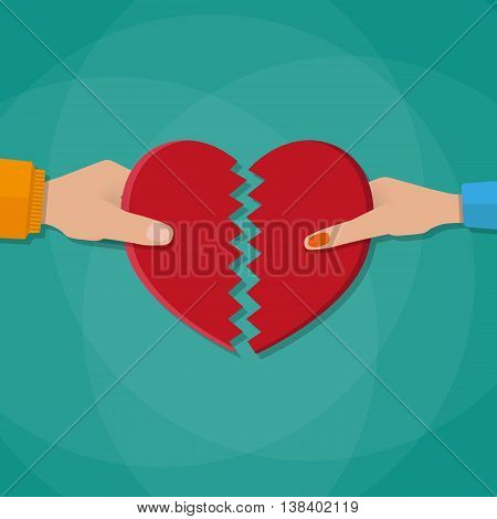Hand of a man and woman tearing apart heart symbol. vector illustration in flat style on green background