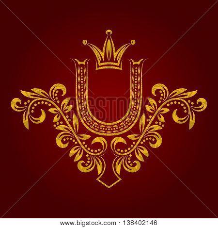 Patterned golden letter U monogram in vintage style. Heraldic coat of arms. Baroque logo template.