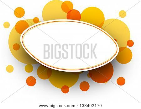 Paper white oval background with orange bubbles. Vector illustration.