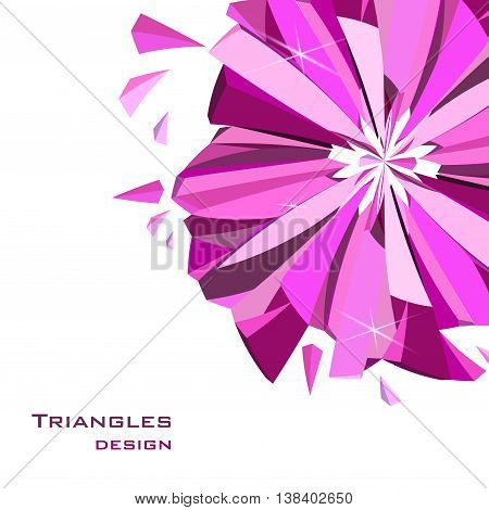 Corner abstract triangles design. Pink glamour ruby diamond circle element with rose sparkles on white background. Vector illustration - stock vector.