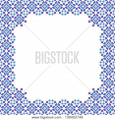 Frame blue patterns on canvas abstract embroidery