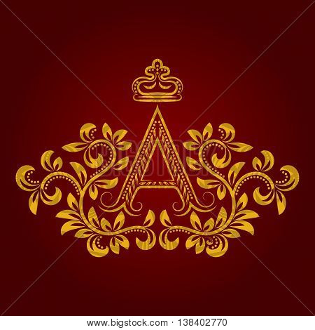 Patterned golden letter A monogram in vintage style. Heraldic coat of arms. Baroque logo template.