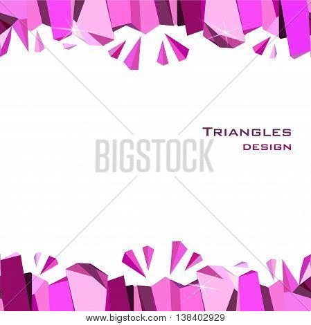 Pink horizontal frame on white background. Seamless border with ruby diamond crystal triangles. Abstract geometric girl design. Vector illustration - stock vector.