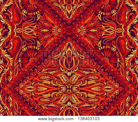 colorful pattern in reds and yellows with flaming paisleys and flowers. Very expressive oriental border textile design, hand drawn.