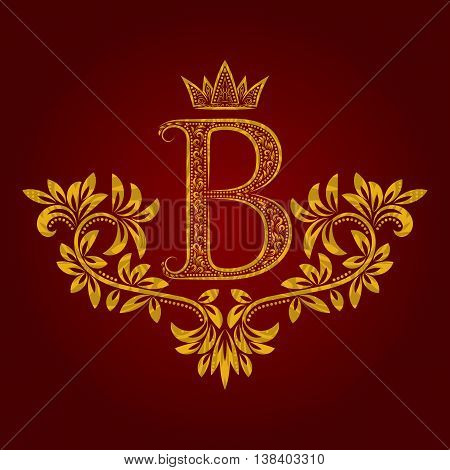 Patterned golden letter B monogram in vintage style. Heraldic coat of arms. Baroque logo template.