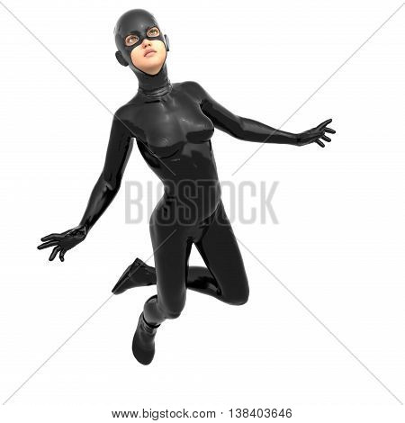 one young girl in a tight black super suit. Is in a flying pose. The face directed to the camera. 3D rendering, 3D illustration
