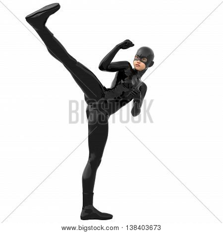one young girl in a tight black super suit. In a combat pose. Right. 3D rendering, 3D illustration