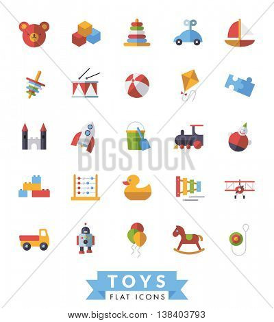 Collection of flat design children??s toys icons on white background