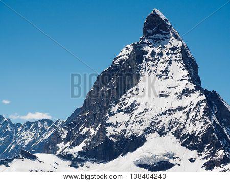 Matterhorn peak in sunny day view from gornergrat train station Zermatt Switzerland.