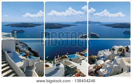 The set from views in Oia at Santorini Greece