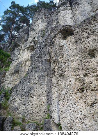 Limestone Rock In A Climbing Area Frenkenjura