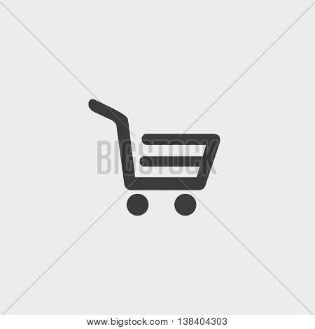 Shopping trolley icon in a flat design in black color. Vector illustration eps10