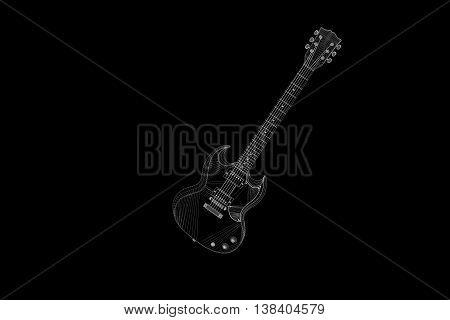 3D Guitar in Hologram Wireframe Style. Nice 3D Rendering
