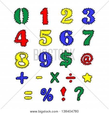 Thorny colorful symbols and numbers on white background