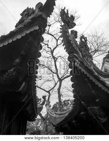 THANH HOA, Vietnam, December 14, 2015 architecture dragons, ancient temple pagoda roof, rural, Thanh Hoa, Vietnam