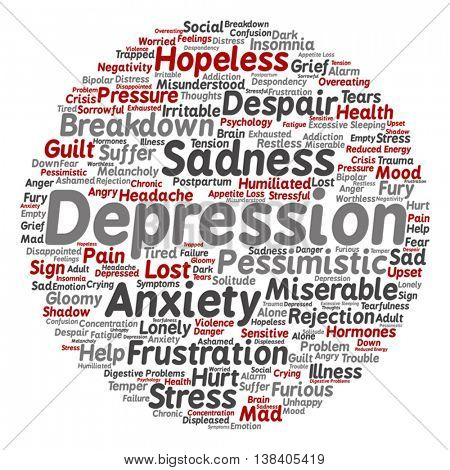 Vector concept conceptual depression or mental emotional disorder abstract round word cloud isolated on background
