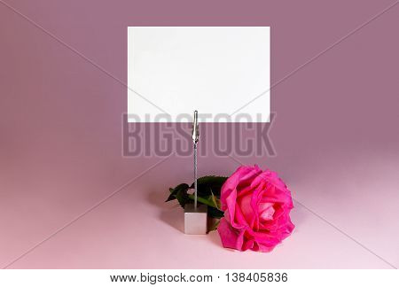 Note holder with rose and empty card