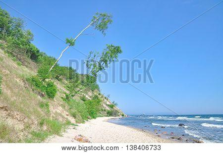 coastal Landscape near Sellin on Ruegen Island at Baltic Sea,Mecklenburg western Pomerania,Germany