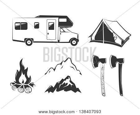 Vector elements for summer camp outdoors vintage labels, emblems, logos, badges. Tent for mountain camp, travel and recreation in outdoor camp illustration