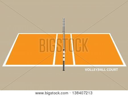 Vector illustration of a volley ball court with net isolated on brown plain background.