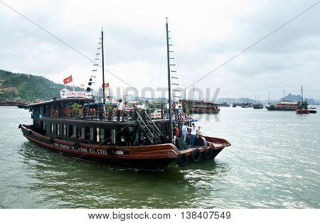 HA Long, Vietnam, July 4, 2016 Tourist boat on Ha Long Bay, heritage, natural world, Quang Ninh province, Vietnam