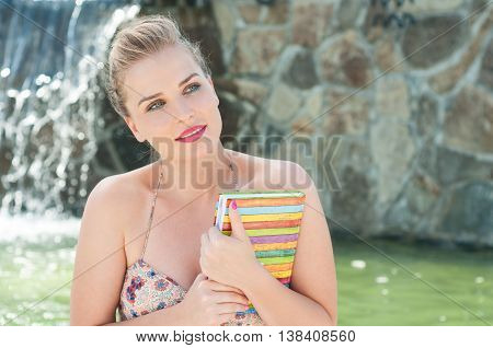 Beautiful Woman Holding Diary Or Agenda Outside