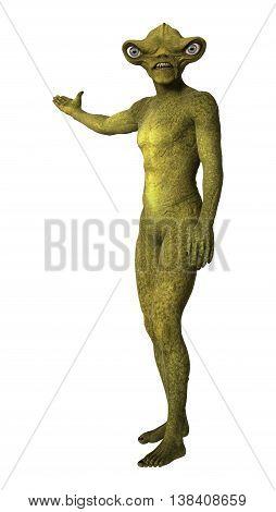 3D Rendering Green Alien On White