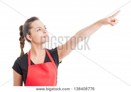 Attractive Store Employee Pointing Finger Up
