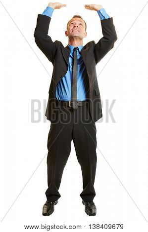 Isolated full body business man lifting an imaginary object